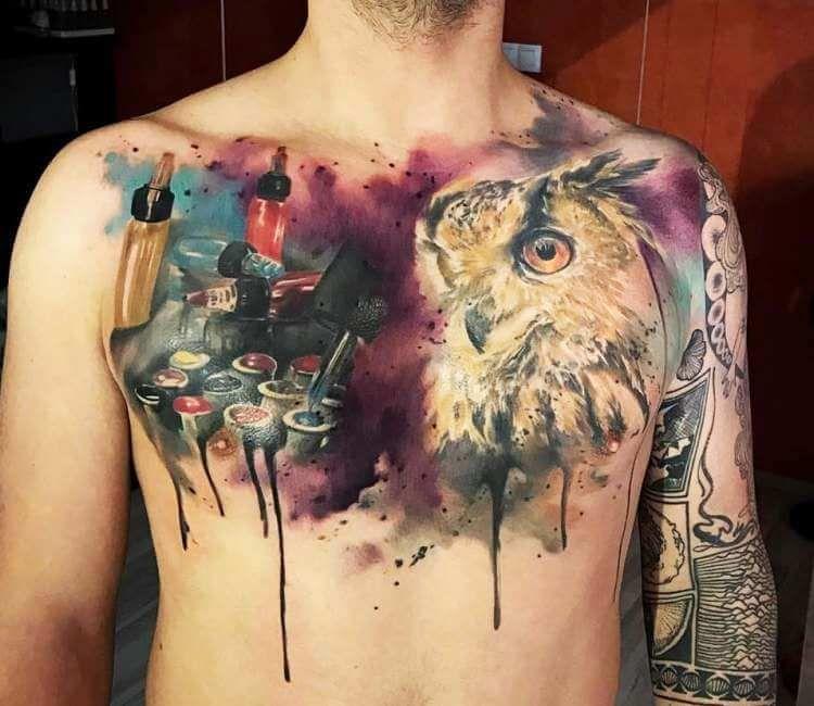 Galexy Girl Swinging Tattoo: Chest Tattoo By Jakub Zitka