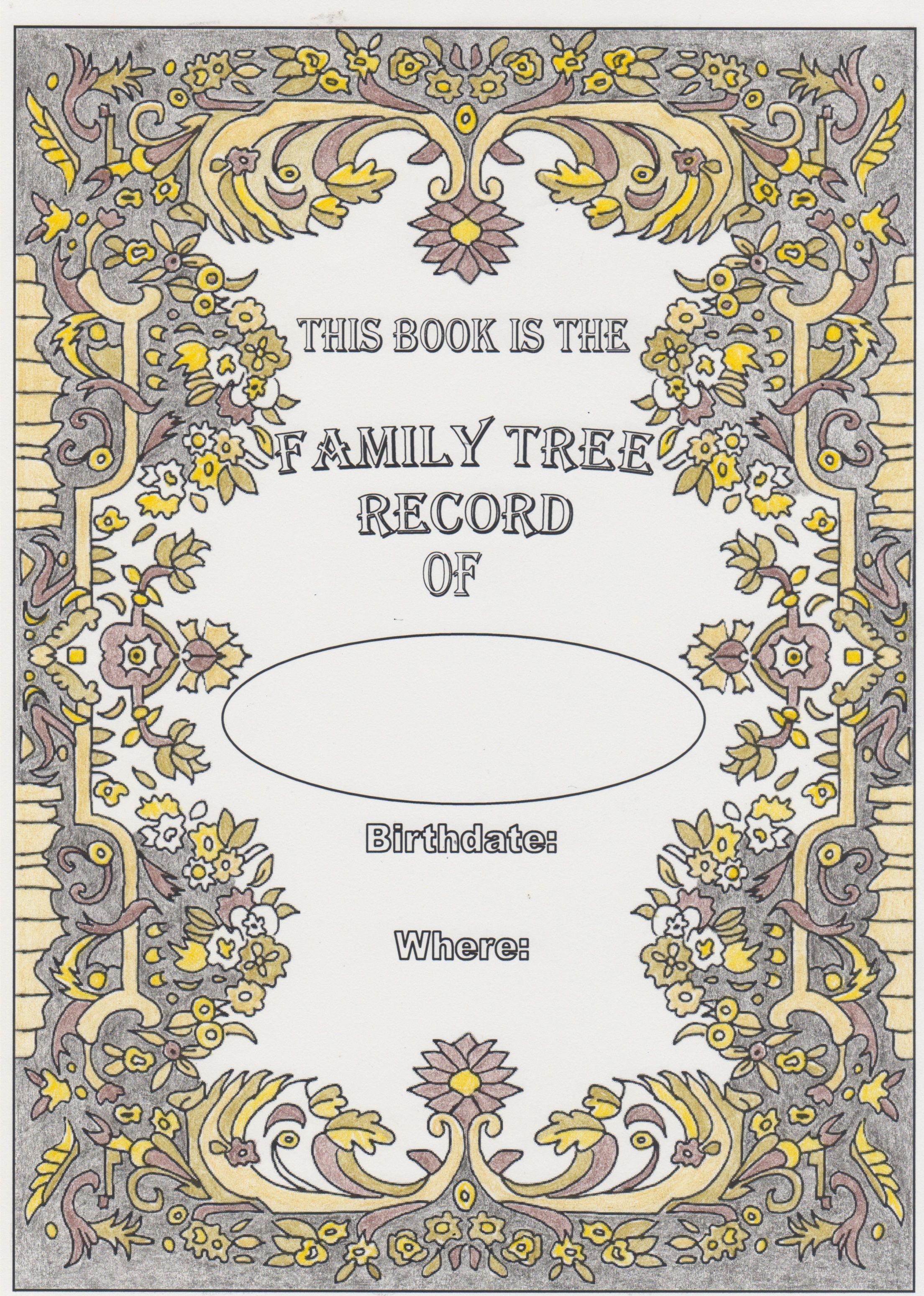 Title Page Done In Colored Pencils From Family Tree Coloring Book Coloring Books Family Tree Vintage World Maps