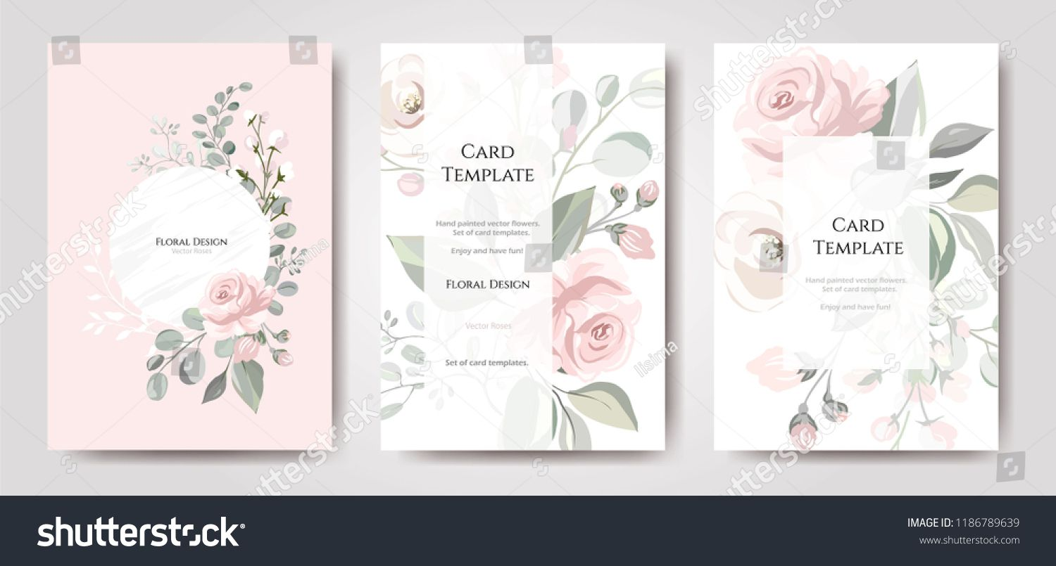 Set of card with flower rose, leaves. Wedding ornament concept ...