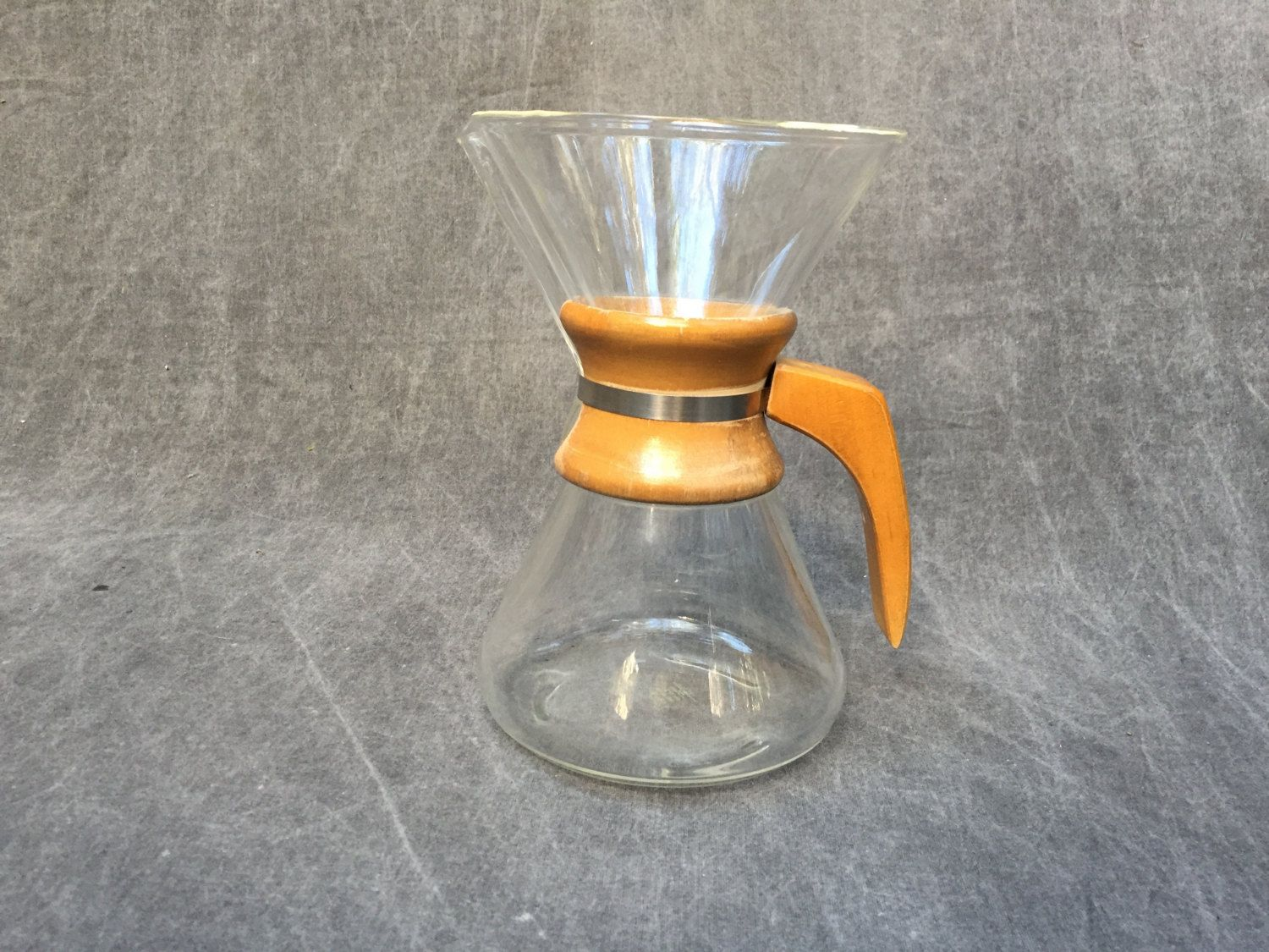 Vintage 70's Chemex Coffee Maker Glass and Wood and Glass