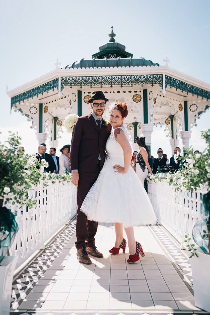 d408e7e472f9 Image by Brighton Photo - 50s Mod Inspired Wedding With An Outdoor Ceremony  At Brighton Bandstand