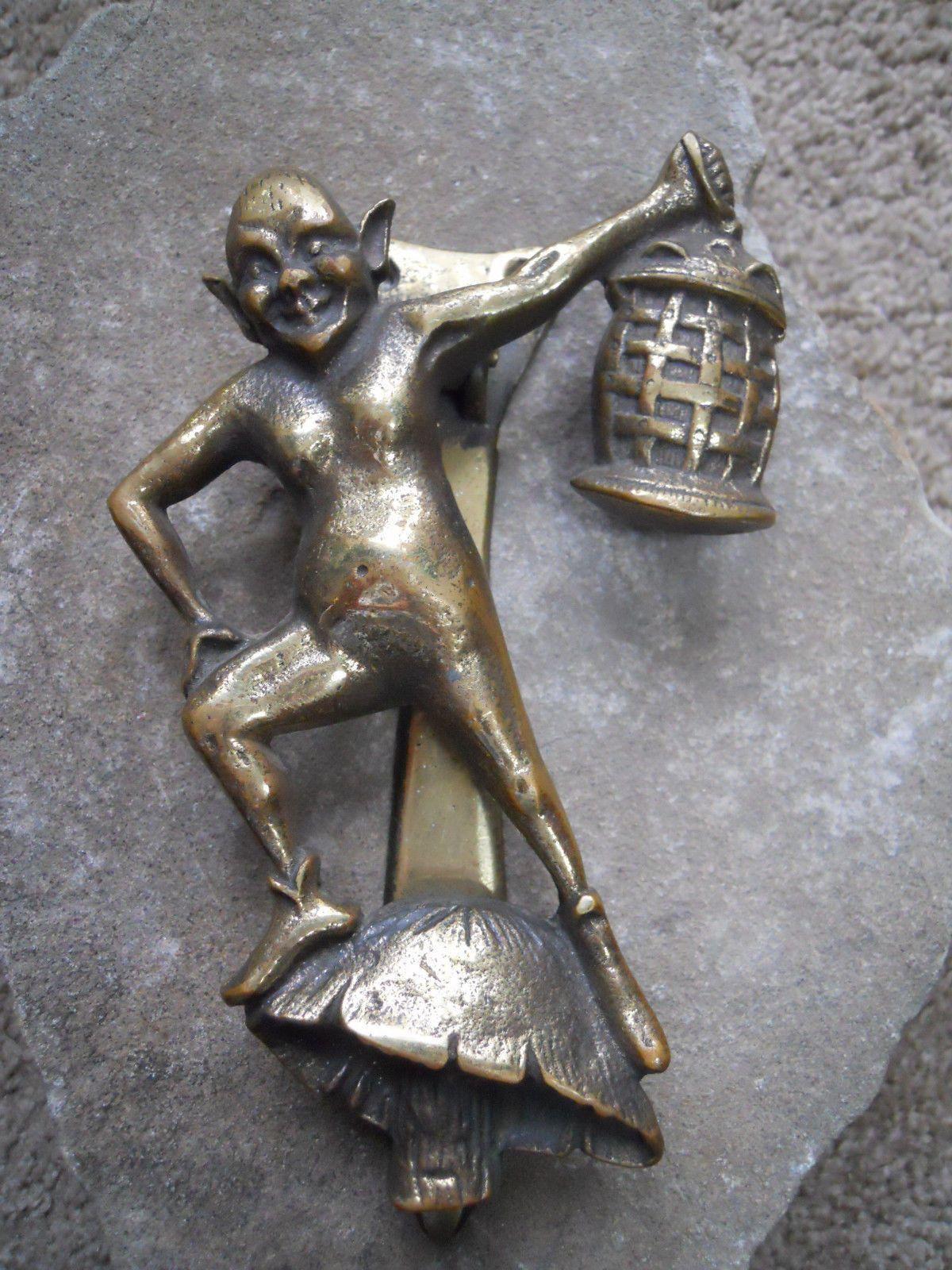 FUNKY Vintage 1970 Brass Door Knocker Elf stanting on mushroon holding lantern picclick.com