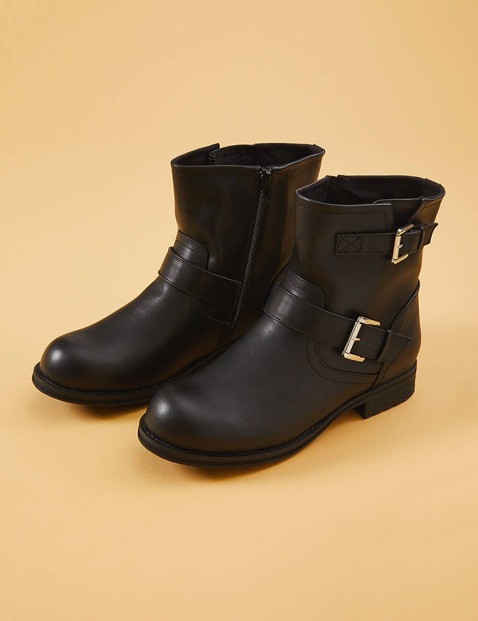 9c9ffa75f3 Faux Leather Moto Boot With Buckles