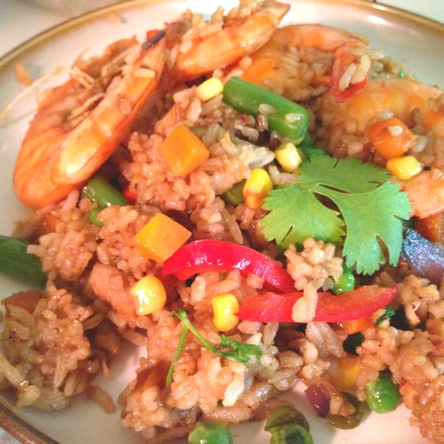 For tonight's dinner! Extra loaded Fried rice :) Smart thing to make out of your left overs in the fridge. I made mine by stir- frying onion, garlic, bell pepper, mixed veggies, shrimp scampi, rotisserie chicken, slow cooked pork,cooked rice, a drizzle of sesame oil, a dash of salt and pepper to taste and a handful chopped cilantro. Adding beaten eggs, Chinese sausage and/or other meat toppings depends on your liking and creativity :) Fun to try! Savor Life!
