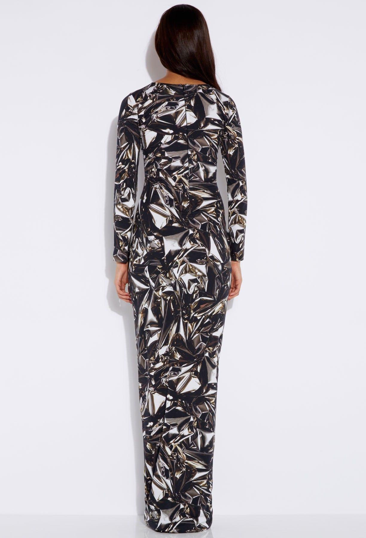 Bree metallica silver bodycon maxi dress aqaq dresses pinterest