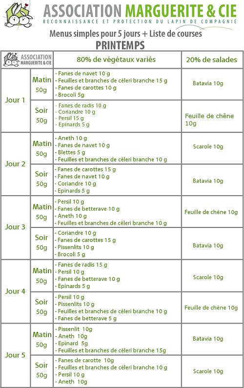 Gut gemocht Menus simples pour 5 jours + Liste de courses - Association  TN53