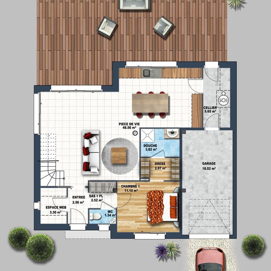 Maison contemporaine mezzanine Carnac Construction