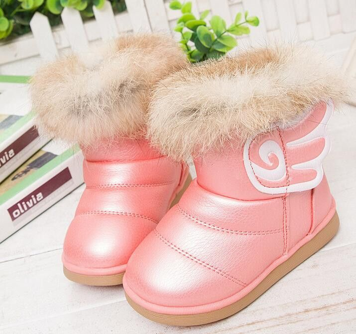 4a126febb Winter Fashion child girls snow boots shoes warm plush soft bottom baby  girls boots comfy kids leather winter snow boot for baby