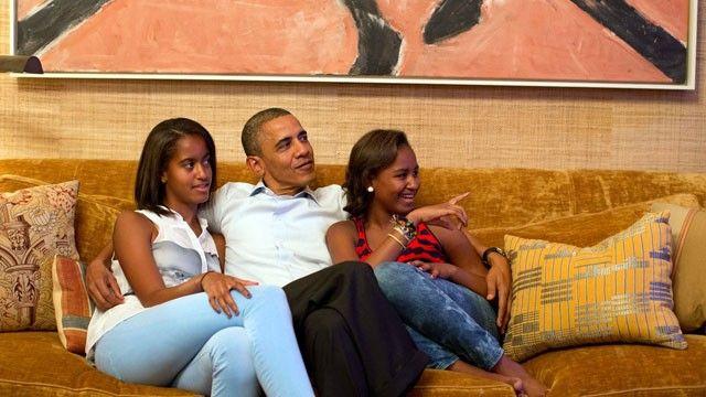 The Beautiful First Family, sitting back, watching FLOTUS speak. Phenomenal!
