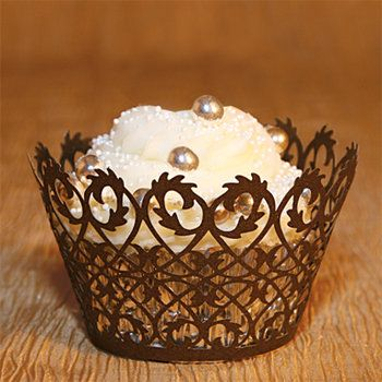 6 Lace Swirl Cupcake Wraps in Brown Baking Cup Cake Party Celebration