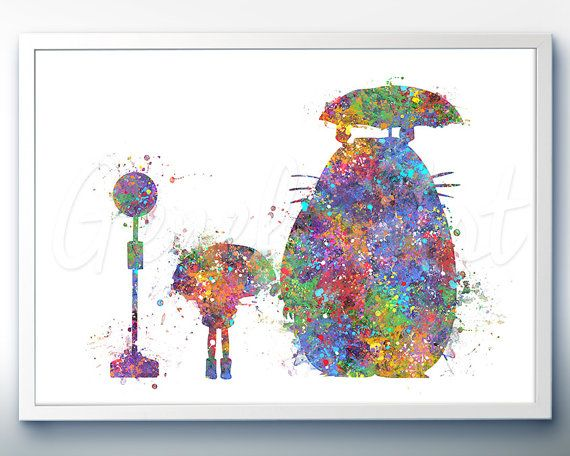 My Neighbour Totoro Studio Ghibli Watercolor Poster Print