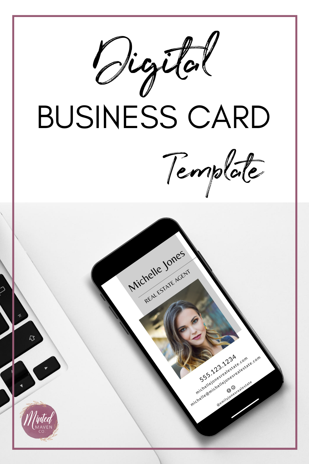 Digital Business Card With Photo Customize Digital Business Etsy Digital Business Card Realtor Business Cards Real Estate Business Cards