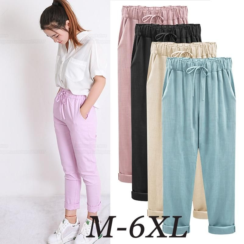 6692f01603a Gender  Women Length  Ankle-Length Pants Closure Type  Elastic Waist Fit  Type  Loose Pant Style  Harem Pants Waist Type  High Front Style  Pleated  Material  ...