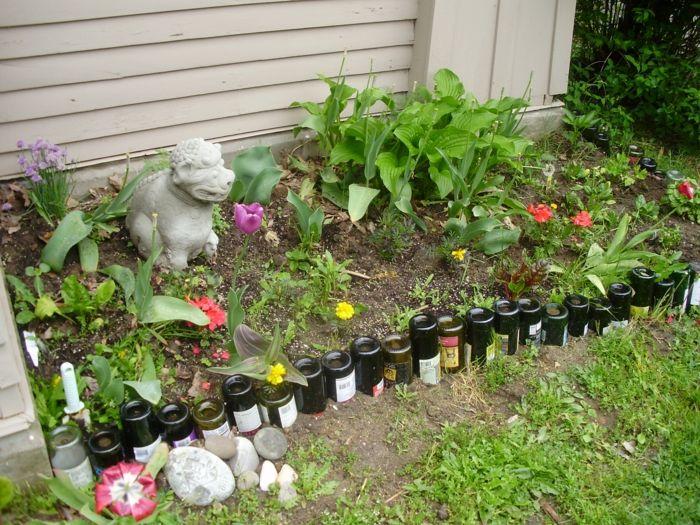 Gut Upcycling Gartenideen Mit Wenig Geld Alte Glasflaschen Diseño Del Jardín De  Piedra, Ideas De Diseño