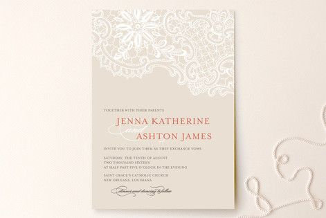 White Lace Customizable Wedding Invitations In Red By Lauren