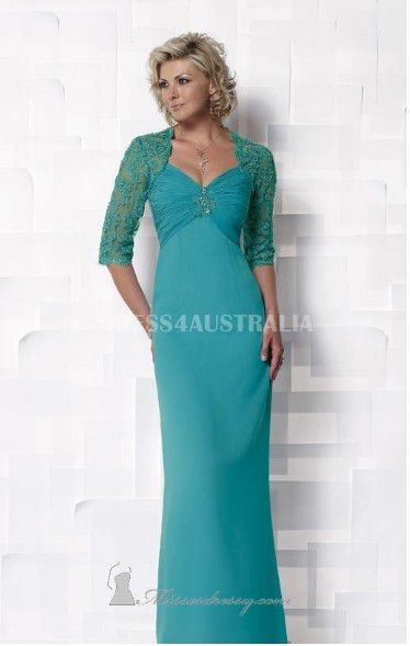 de70e07a106 Buy Australia Column Jade Spaghetti Straps Chiffon Overlay Floor Length  Small Jacket Included Modest Mothers Dresses by Cameron Blake at AU 201.97  ...