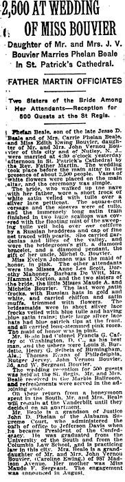 New York Times | January 17, 1917 Big Edie wedding - Edith Bouvier Beale and daughter, GREY GARDENS (their home that fell into disrepair) first cousin to Jaqueline Bouvier Kennedy Onasis -