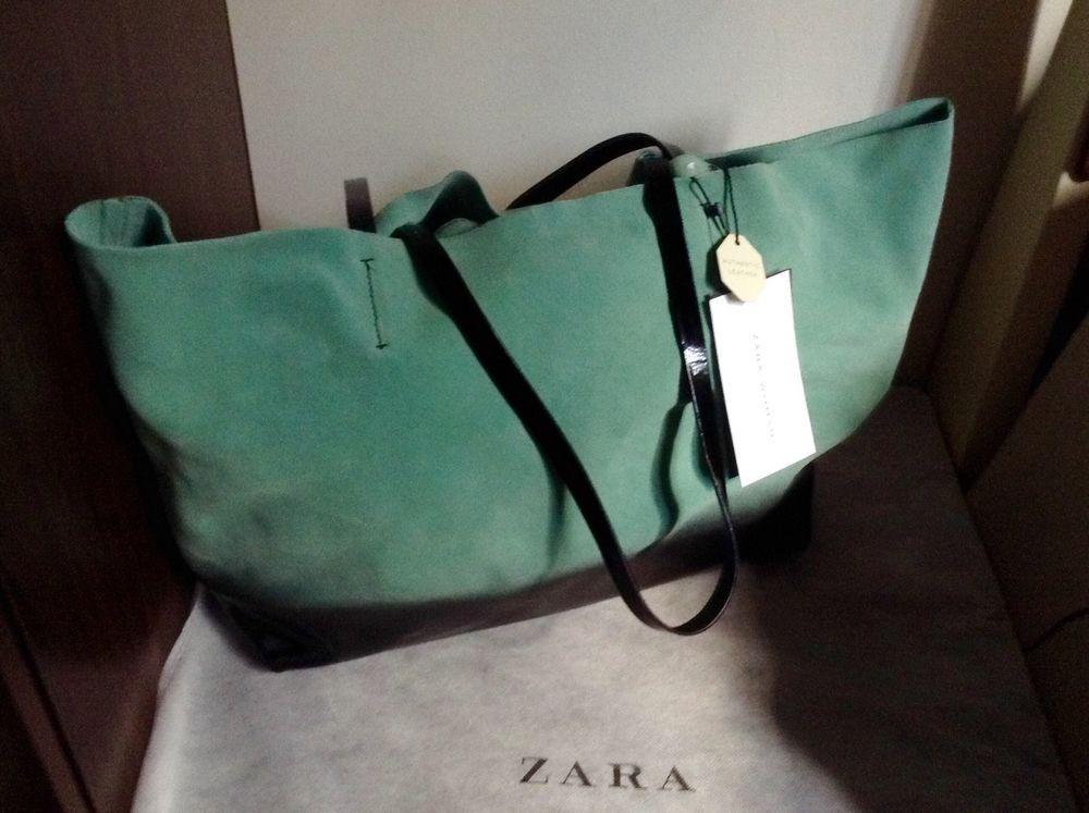 Zara woman Genuine suede leather Ombre shopper tote bag mint/green/black BNWT  #Zara #TotesShoppers