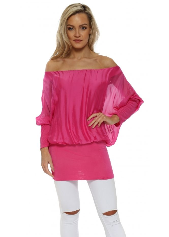 8eaefaf241d7a MADE IN ITALY Hot Pink Long Sleeve Silk Tunic Top