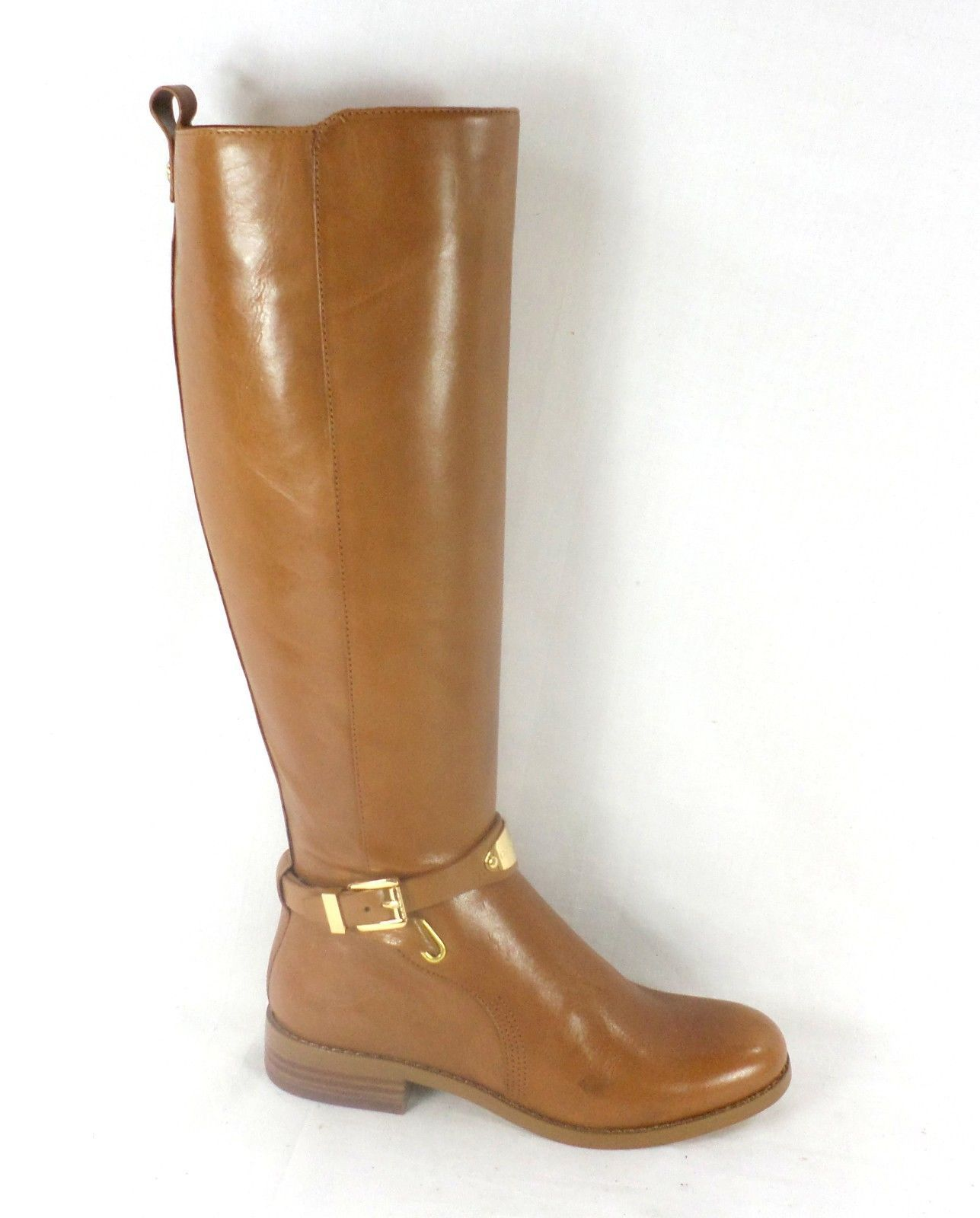9285fa74d920 Michael Kors Arley Luggage Brown Leather Riding Boots Womens Size 5 ...