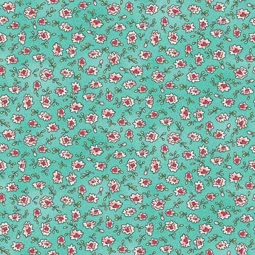 """Little pink flowers on blue make this print a charmer. This quilt fabric is from Maywood Studio's Roam Sweet Home collection by Kris Lammers. 44"""" wide.  Collection:Roam Sweet Home Designer:Kris Lammers Manufacturer:Maywood Studio Fabric Type:Cotton Print Fabric Size:All fabric sold by the yard is 44"""" wide, unless stated otherwise in the description.  Keepsake Quilting"""