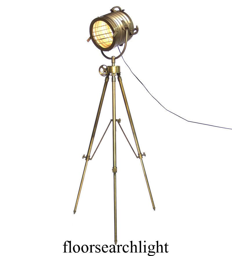 Antique Nautical Brass Led Tripod Floor Lamp Vintage Lamps Searchlight Home Lamp Sarainternational Lighting Vintage Lamps Vintage Floor Lamp Tripod Floor