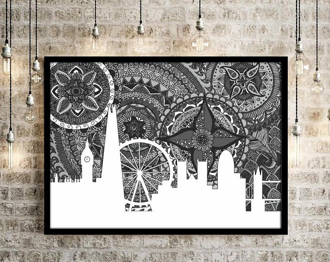 London Skyline Skyline Of London Print London Zentangle London