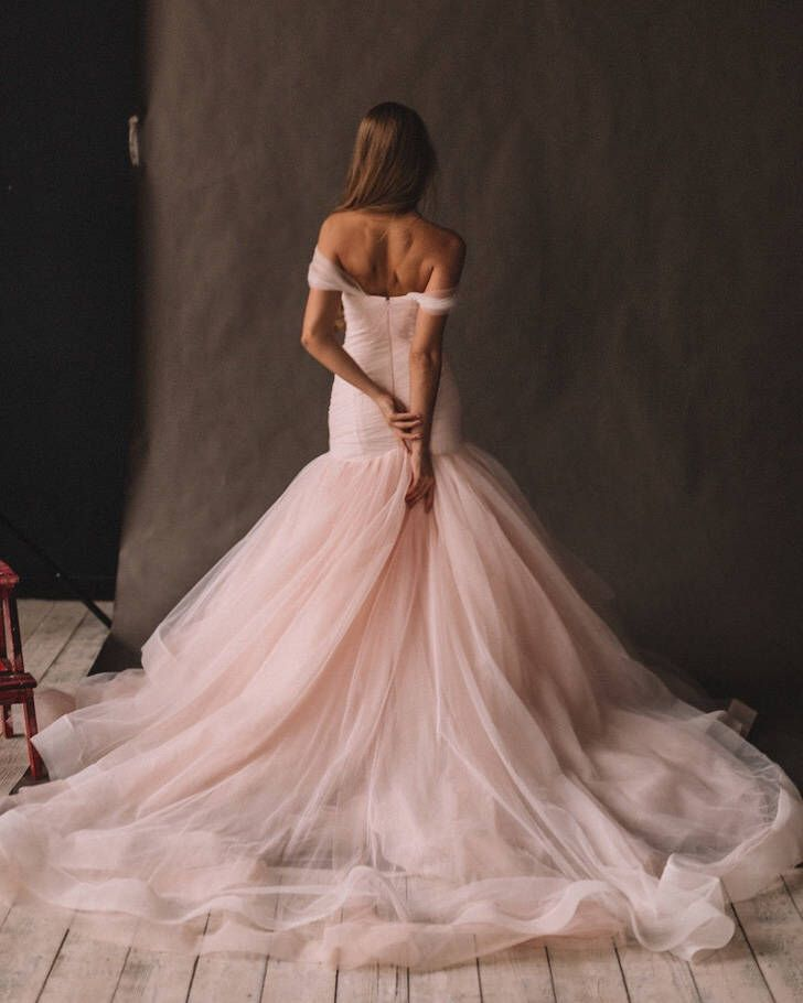 Unique Wedding Dresses With Color: Unique Pink Wedding Dress With Ombre Skirt, Off The