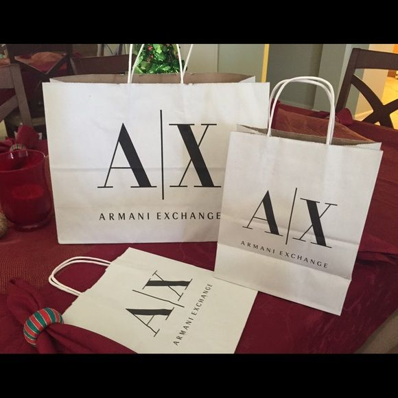 af4aa6bbb054 A X bags Armani Exchange paper bags. Big one is approx 11