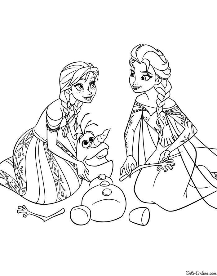 Анна и Эльза лепят снеговика | Детские раскраски ...