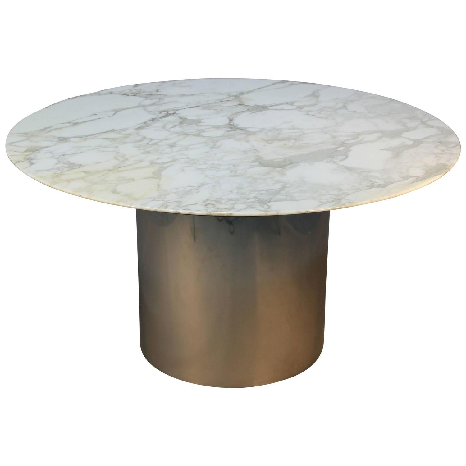 Knoll Arabescato Marble Top Knife Edge Dining Table On Chrome Drum