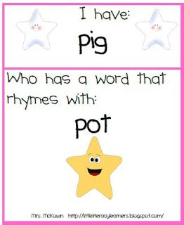 I Have, Who Has Blending and Rhyming game-FREEBIE!!