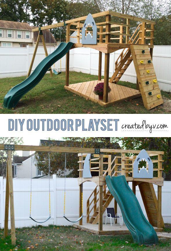 DIY Outdoor Playset | Backyard playground, Backyard play ...