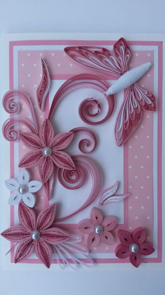 Beautiful Handmade Quilled Card With Pink Quilling Flowers
