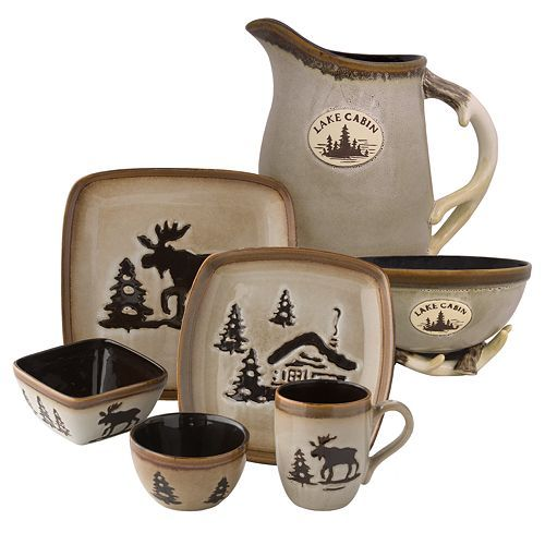 I love my Moose Dish Set! I only have a plate bowl and cup. I want the whole set tho! I wish it weren\u0027t do expensive  sc 1 st  Pinterest & Home Studio Woodland Dinnerware - Cream | Elg (moose) decor ...