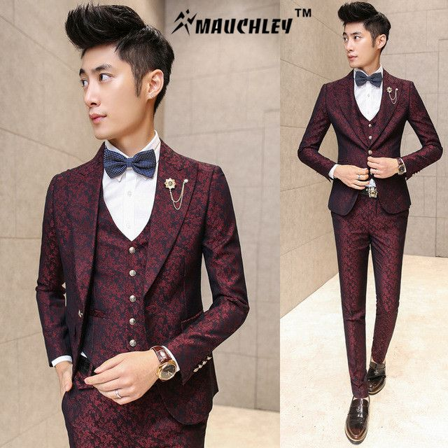 Buy Online MAUCHLEY Prom Mens Suit With Pants Burgundy Floral ...