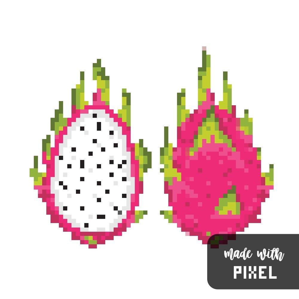 Dragonfruit (?) pixel art Вышивка