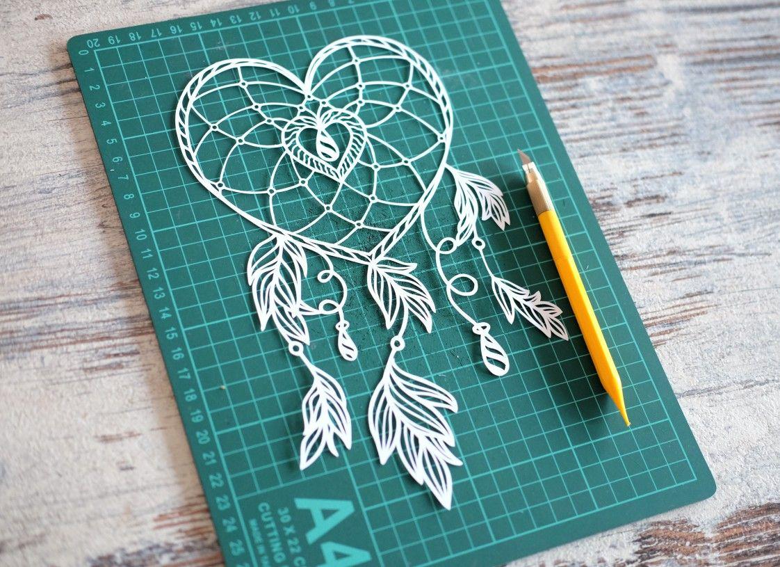 Heart Dreamcatcher Papercut Template Papercutting Hand Cut Paper Art Papercut Papercutting Papercutout