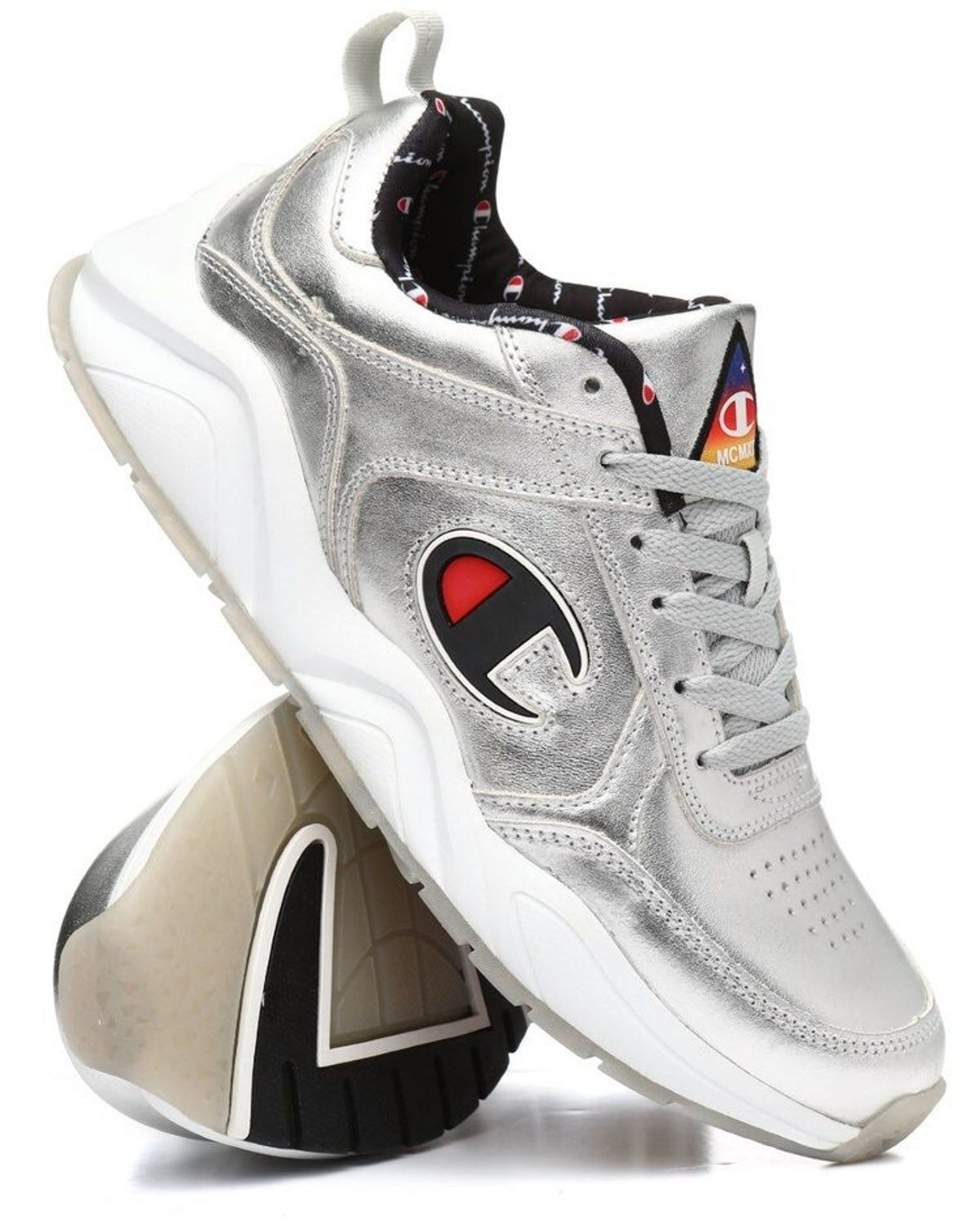 Sz 13 champion sneakers silver in 2020 Champion sneakers