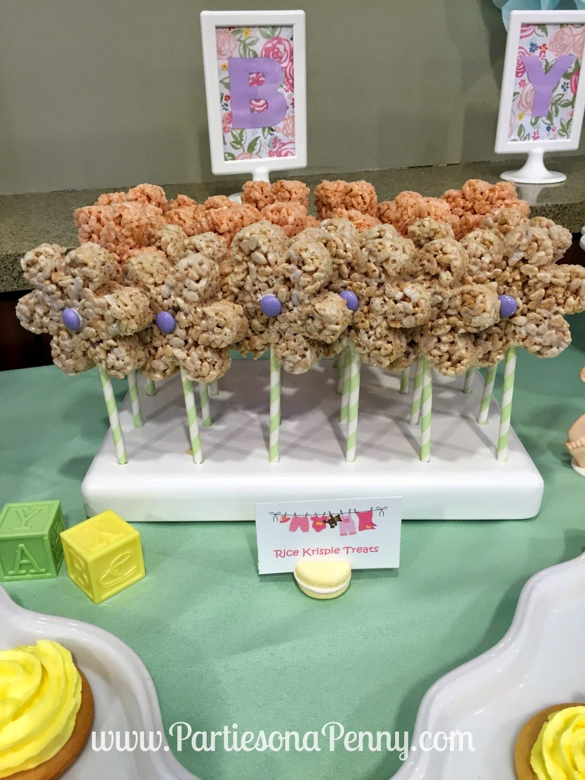 Baby shower rice krispy treat ideas - Spring Themed Baby Shower Flower Rice Krispie Treats Www Partiesonapenny Com