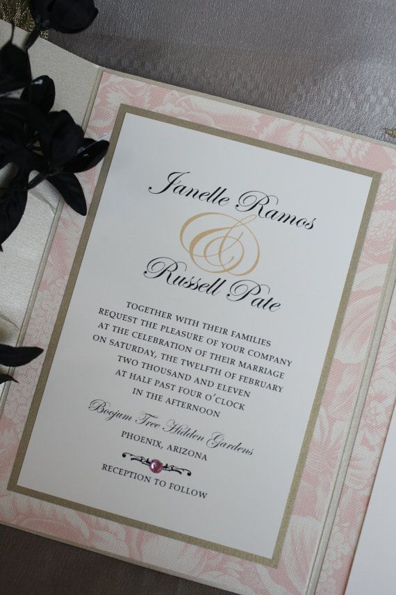 Princess Pink and Black Tie Pocketfold Wedding by idobliss on Etsy, $8.00