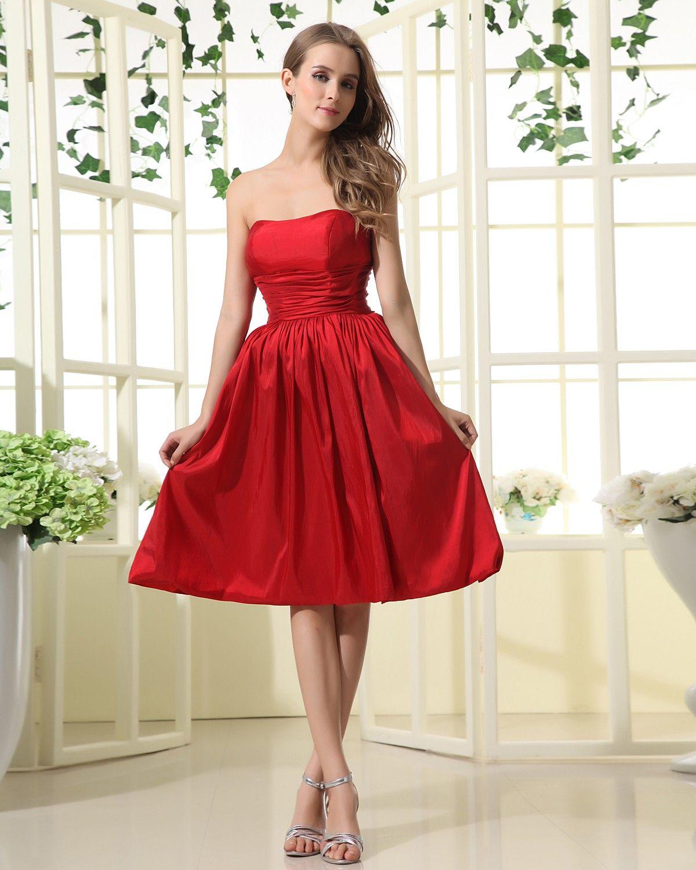 Taffeta Strapless Neckline Knee Length A Line Bridesmaid Dress With Ruffle