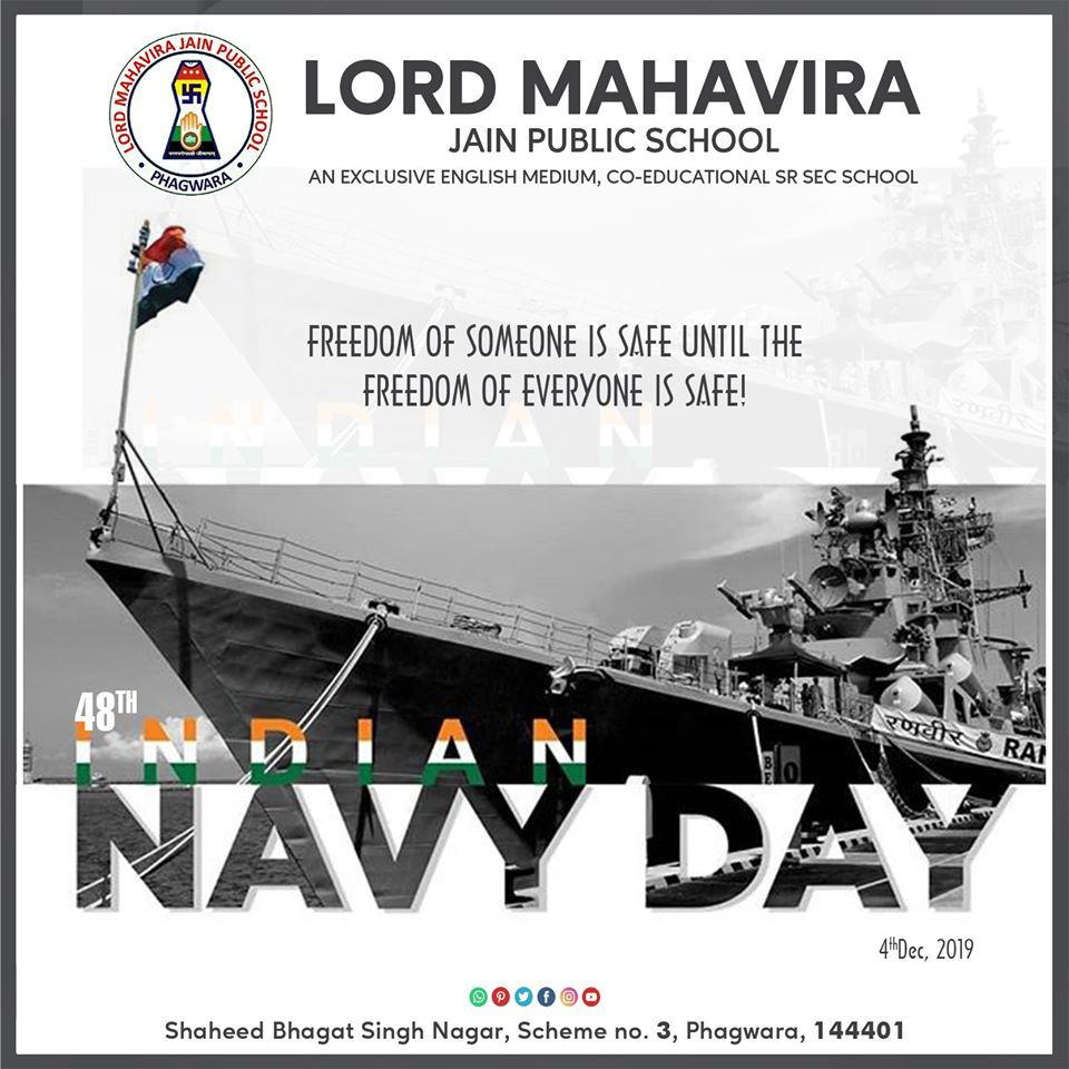 Indian Navy Day Freedom Of Someone Is Safe Until The Freedom Of Everyone Is Safe Indiannavyday 4thdecember2019 Public School Indian Navy Day Navy Day