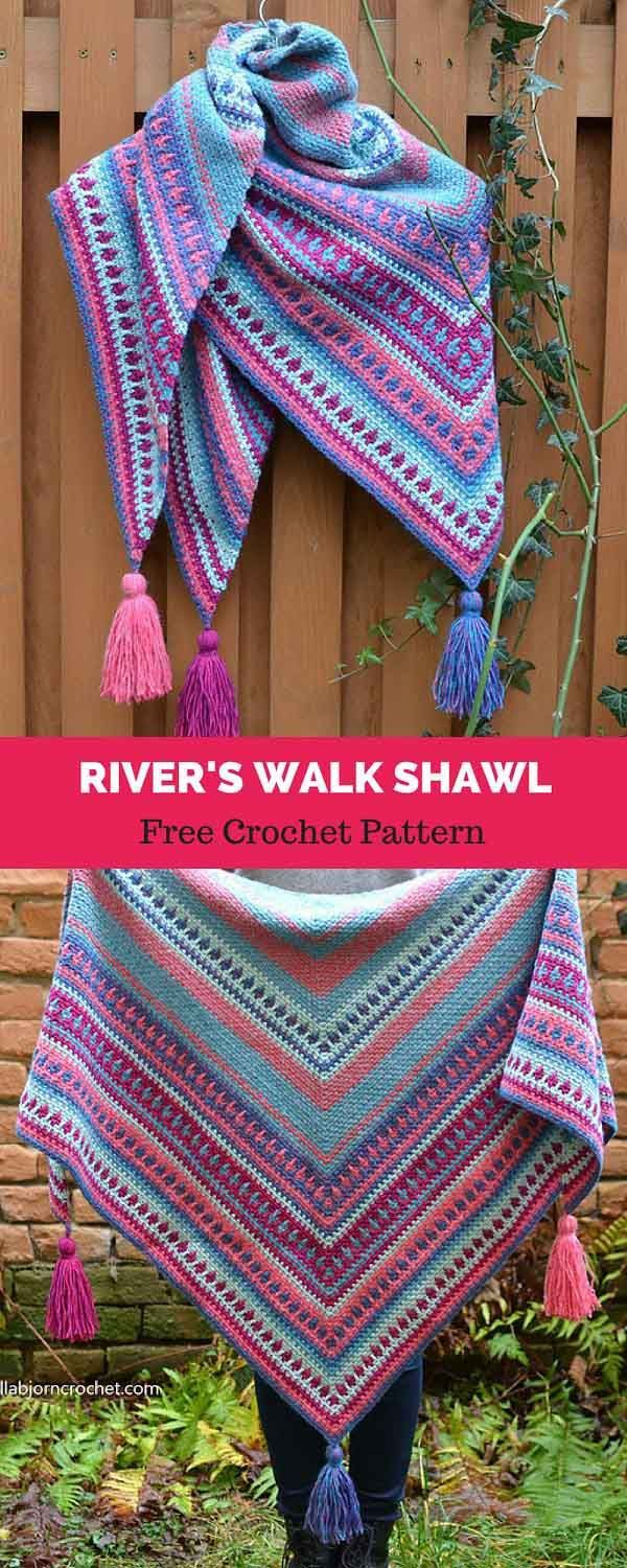 River\'s Walk Shawl [ FREE CROCHET PATTERN | TEJIDO | Pinterest ...