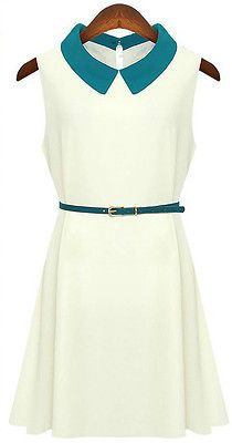 ED6059 Quality Sleeveless Above Knee Solid Dress Tops With Belt 4 Color | eBay