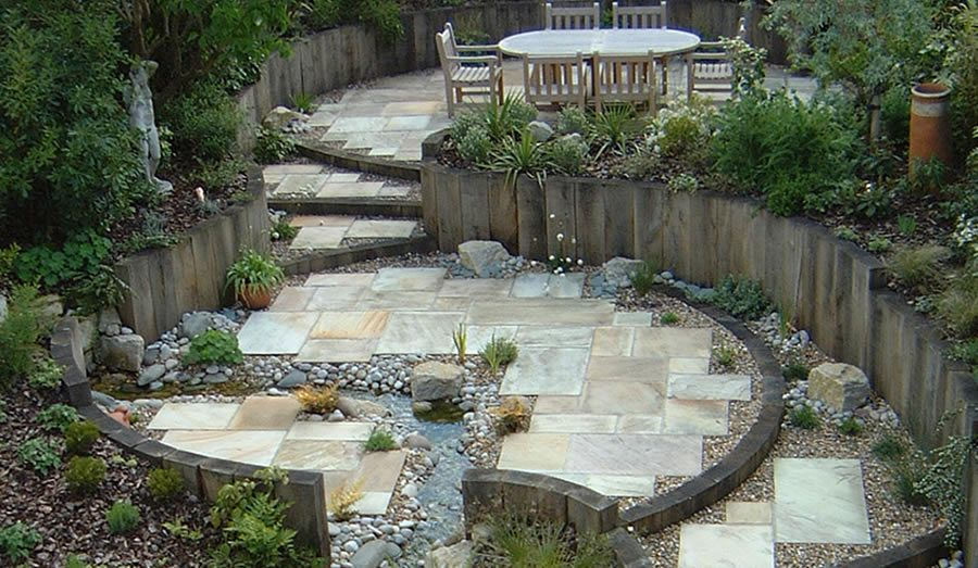 images about sloping garden designs on, sloping garden landscaping ideas