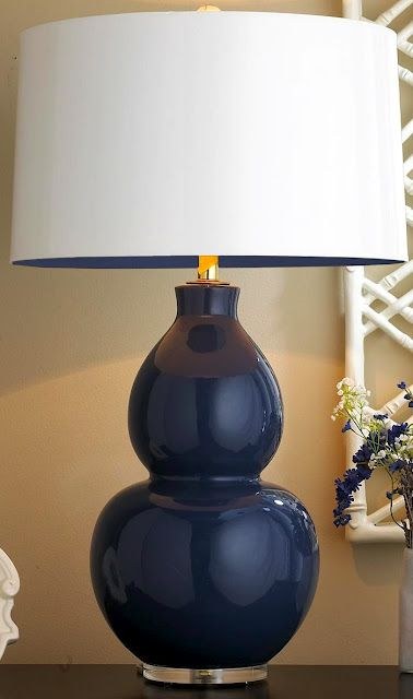 Pop Color Modern Ceramic Table Lamp Navy With Lining Lamps By Shades Of Light