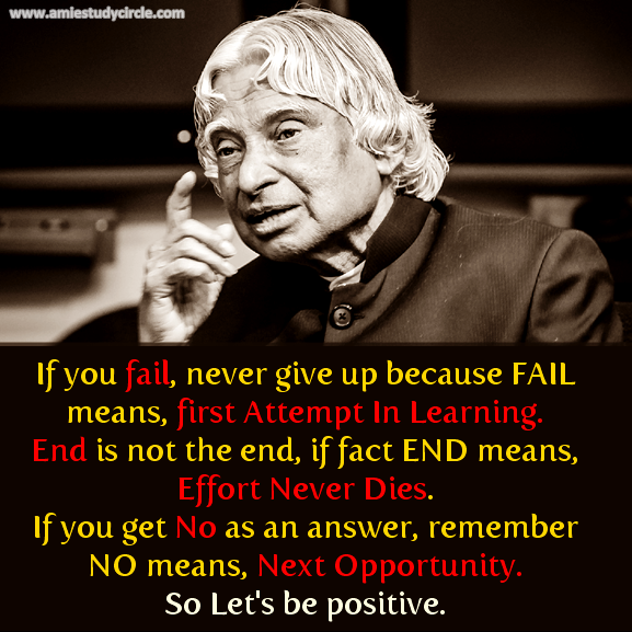 Best Inspirational Quotes By Abdul Kalam: If You Fail, Never Give Up Because FAIL Means, First
