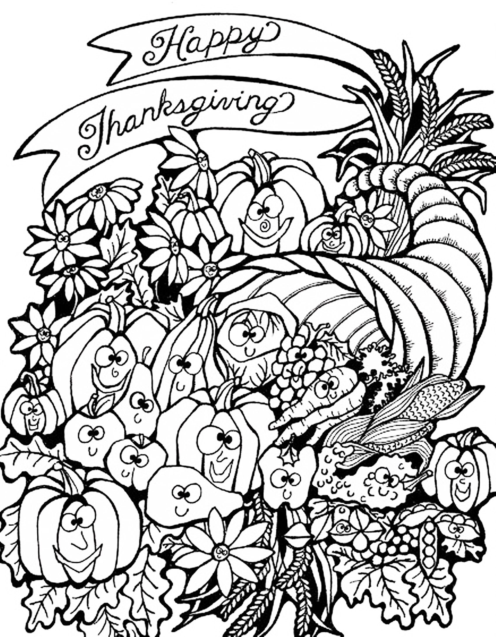 Thanksgiving Harvest Cornucopia Thanksgiving Coloring Pages For