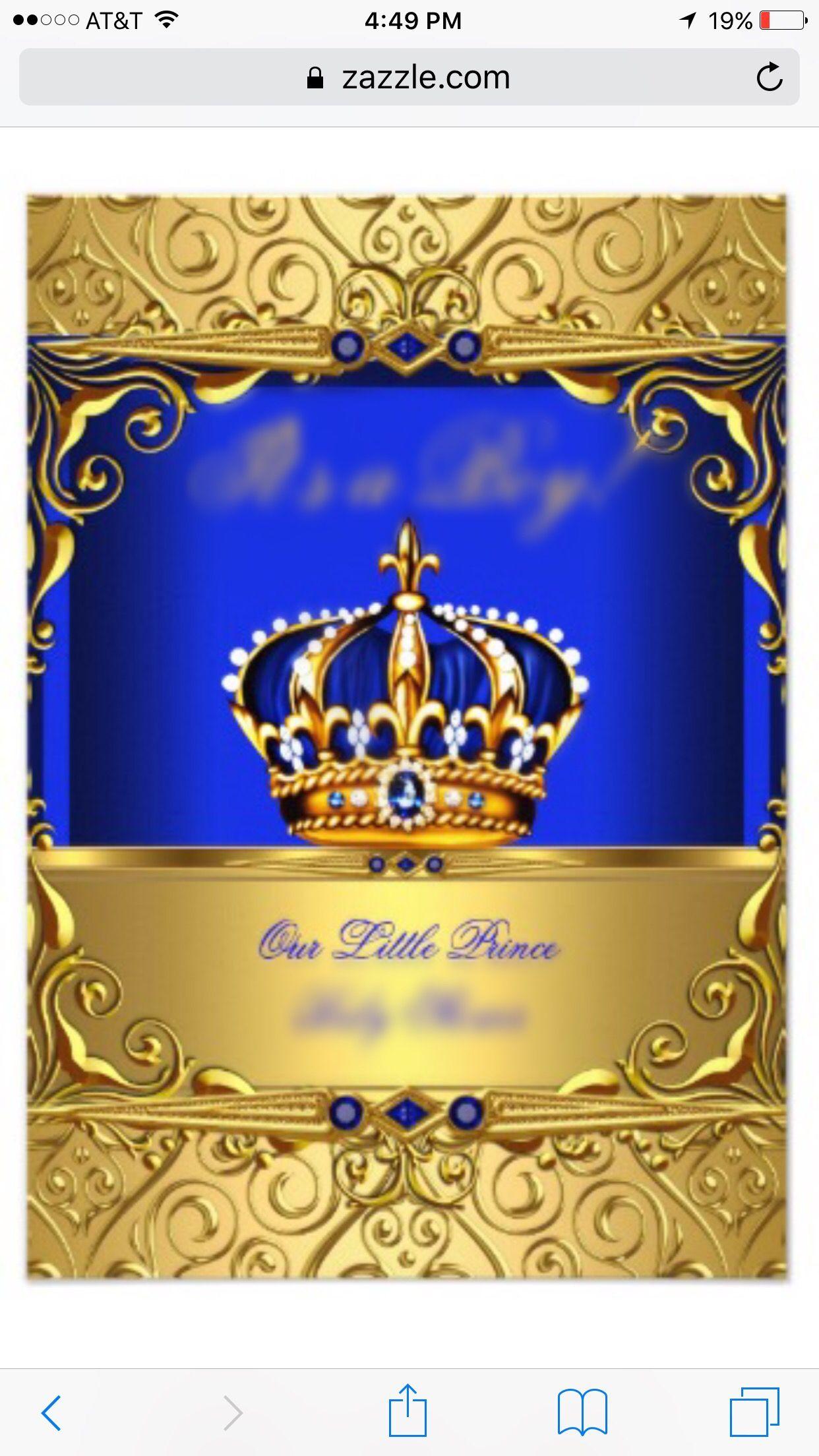 royal prince theme birthday invitation